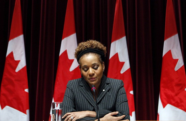 Canada's Governor-General Michaëlle Jean during a statement on the devastating earthquake in Haïti, her country of birth. Foto Reuters