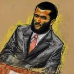 Omar Khadr door een tekenaar bij het tribunaal van Guantanamo Bay.