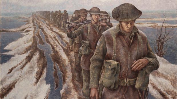 'Infanterie bij Nijmegen, Holland', door Alex Colville (Canadian War Museum)