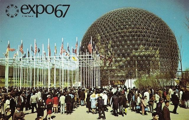 Paviljoen van de Verenigde Station bij Expo 67 in Montreal, ontworpen door de architect Buckminster Fuller.