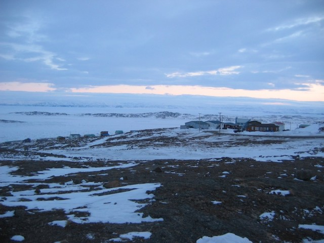View of Iqaluit and Frobisher Bay in Nunavut.