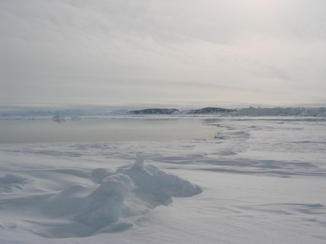 Sea ice and open water in Nunavut.