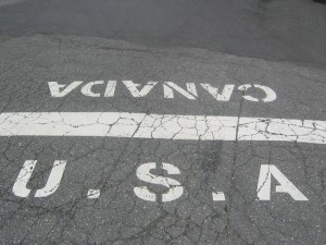 De grens tussen de Verenigde Staten en Canada.