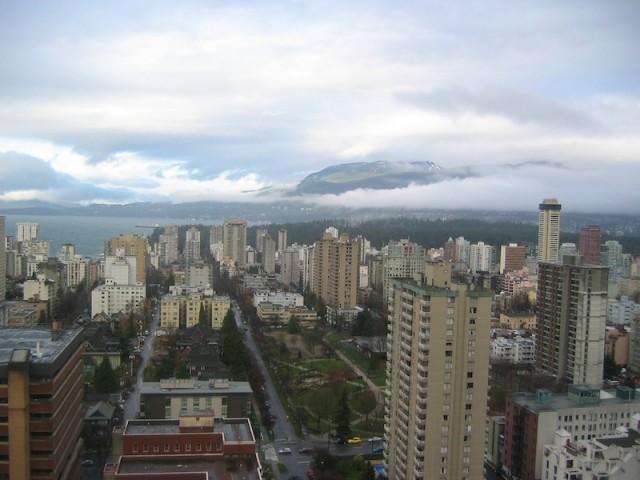 Het centrum van Vancouver op een regenachtige dag.