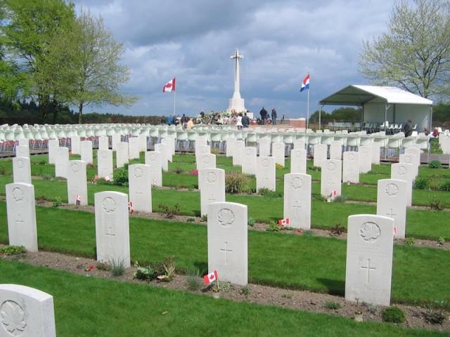 De begraafplaats voor gesneuvelde Canadese militairen bij Groesbeek.