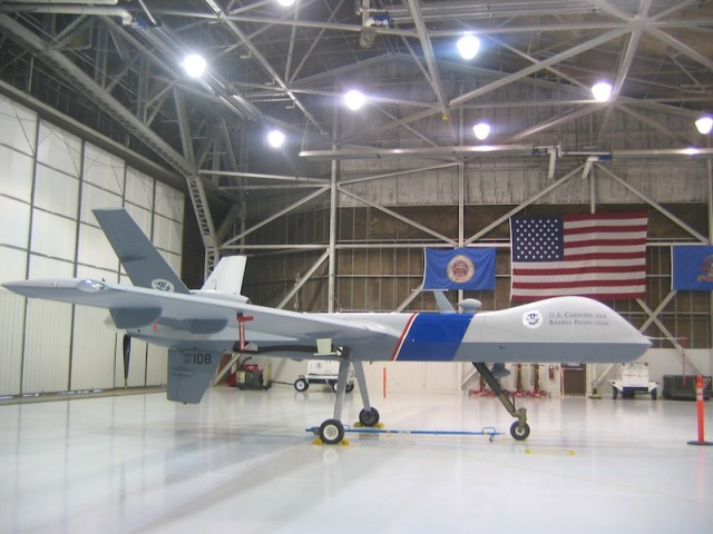 Predator in een hangar in North Dakota.