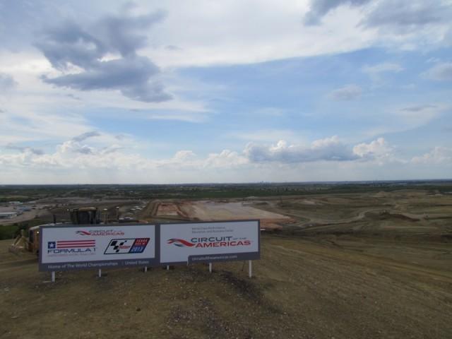 Het 'Circuit of the Americas' in aanbouw nabij Austin, Texas.