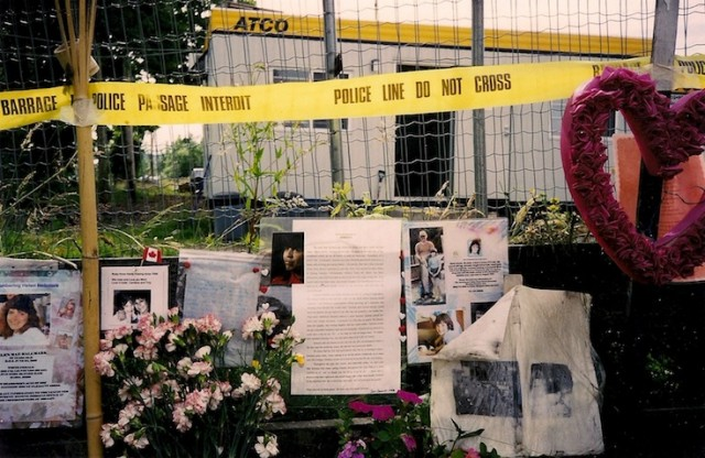 Informal memorial to the missing women near the Pickton farm in Port Coquitlam.