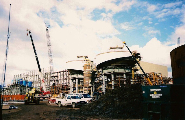 Shell's oil sands installations in northern Alberta under construction.