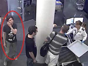 Luka Rocco Magnotta at airport security after his alleged crimes.