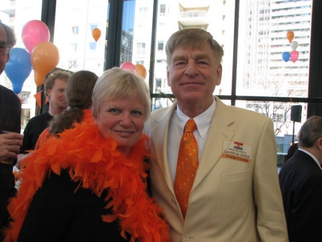 Ineke and Gauke de Jonge during a reception for the Dutch community in Montreal to celebrate Queen's Day.