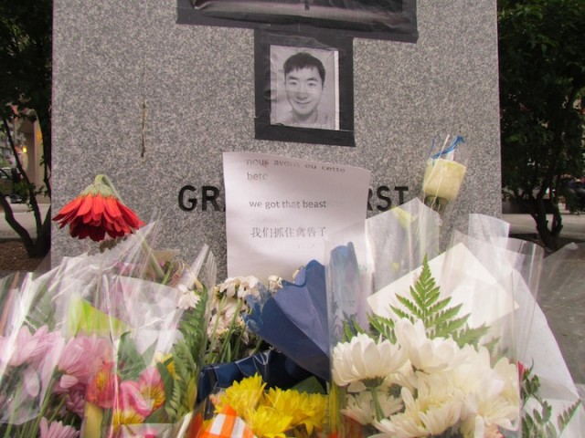 Informal shrine to Lin Jun near Concordia University in downtown Montreal.