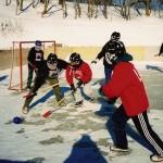 Een winterse broomballwedstrijd in Montreal.