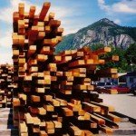 Halfbewerkt hout aan de Canadese westkust, product van de Canadese houtindustrie.