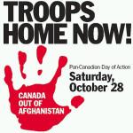 Affiche voor de National Actiedag tegen Canadese deelname aan het conflict in Afghanistan.