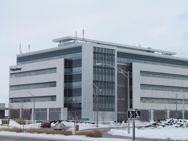 Bedrijfspark van BlackBerry aan de rand van Waterloo, Ontario.