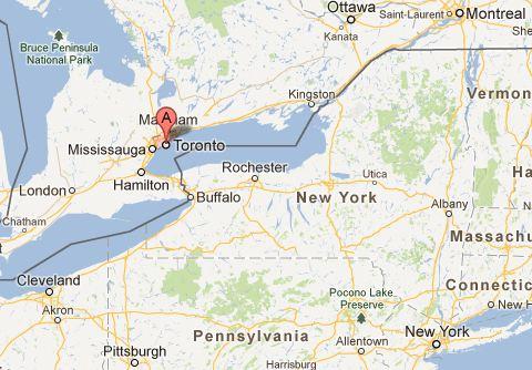 Map TO Mtl NY