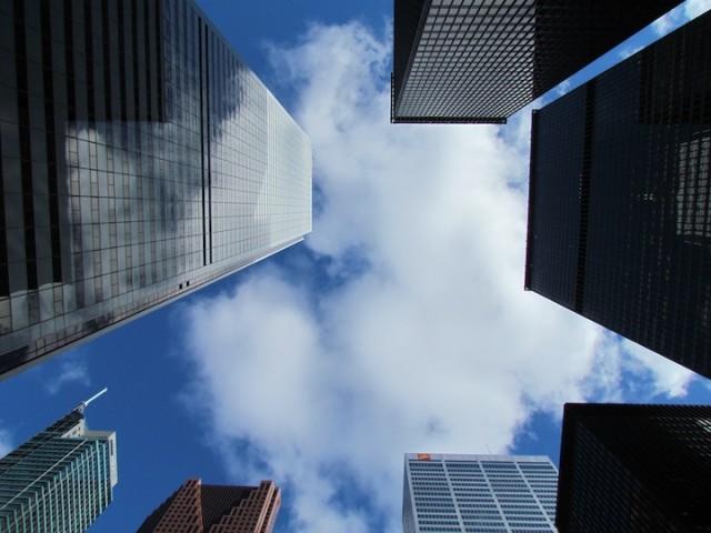 Hoofdkantoren van Canadese banken in het centrum van Toronto.