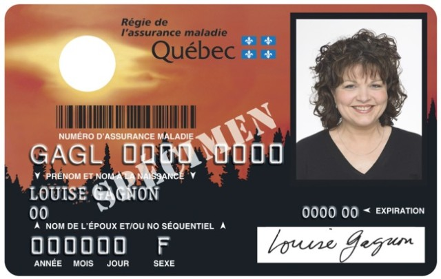 Health card van de provincie Quebec
