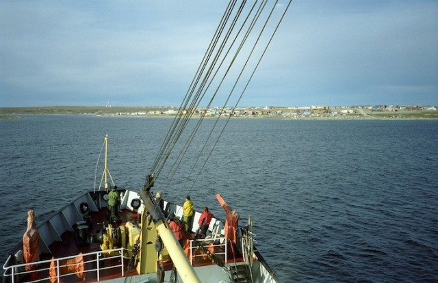 Arrival at Gjoa Haven, a hamlet along the Northwest Passage.