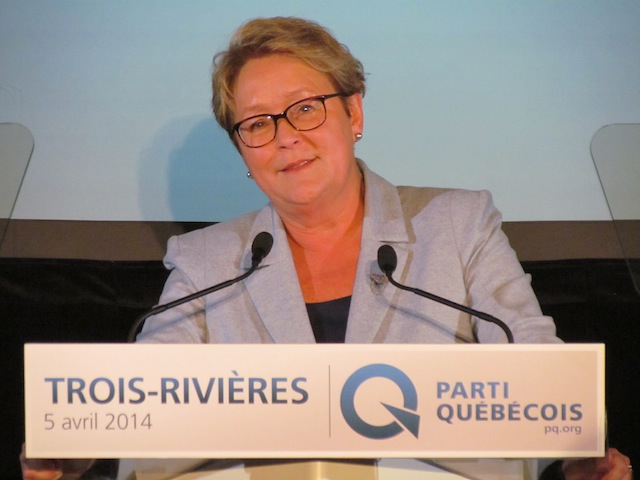 Pauline Marois during a campaign rally in Trois-Rivieres on the weekend.