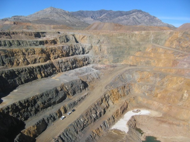 Molycorp's open pit mine for the extraction of rare earth minerals at  Mountain Pass in California.