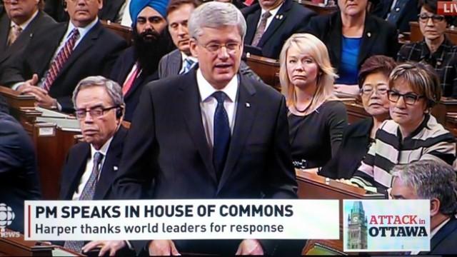 De Canadese premier Stephen Harper sprak gisteren in het parlement, dat voor het eerst weer bijeenkwam na de aanslag van woensdag.