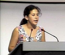 Severn Cullis-Suzuki aan het woord bij de Earth Summit in Rio de Janeiro in 1992.