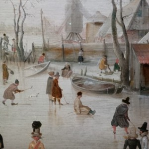 People use hockey sticks on the ice in this detail from a painting by Dutch old master Hendrick Avercamp.