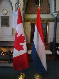 Canadian and Dutch flags.