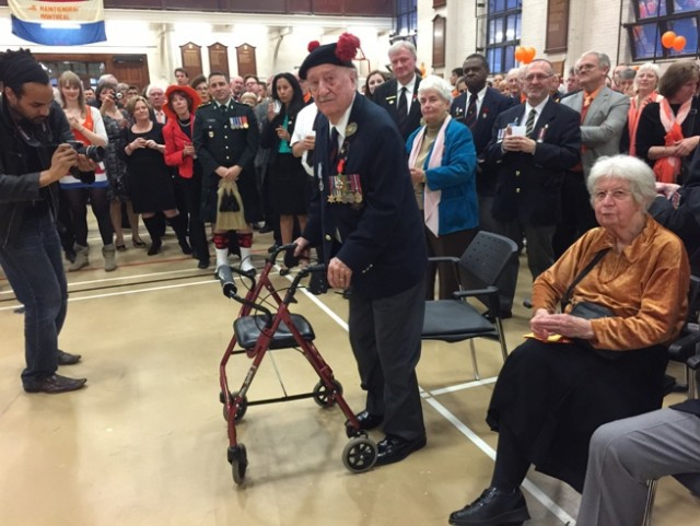 Veteran Jim Wilkinson is honoured by the Dutch community in Montreal during an event at the Black Watch Armoury.