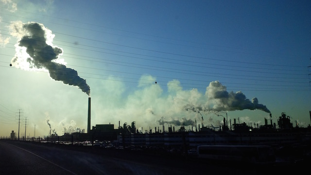 Emissions in the tar sands area of northern Alberta..