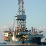 Het boorschip Discoverer van Shell, waarmee de oliemaatschappij proefboringen wil uitvoeren bij Alaska (foto Shell / AP)