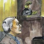 Een tekening van Conrad Black in de rechtzaal van rechter Amy St. Eve in Chicago (foto AP).