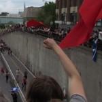 Demonstranten tijdens de protestmars om de honderdste dag te markeren van de studentenboycot in Quebec.