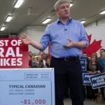 De Canadese premier Stephen Harper tijdens een campagnebijeenkomst voor de parlementsverkiezingen (foto Canadian Press)